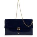Bolso Clutch de la colección Dama Blanca en Charol y color Azul. Versión sin Borla de adorno.