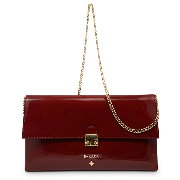 Clutch Handbag from our Dama Blanca collection in Patent Calf Leather and Red color. Without leather tassel.