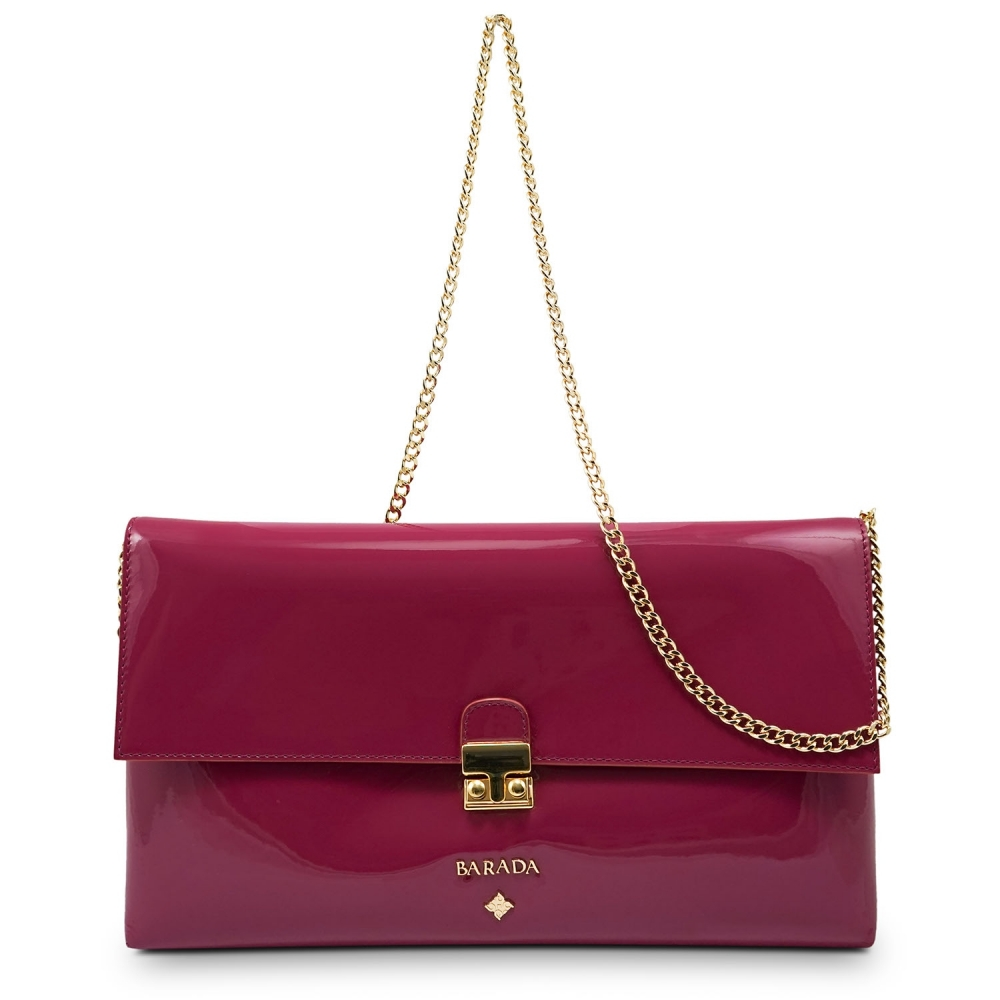 Clutch Handbag from our Dama Blanca collection in Patent Calf Leather and Viola color. Without leather tassel.