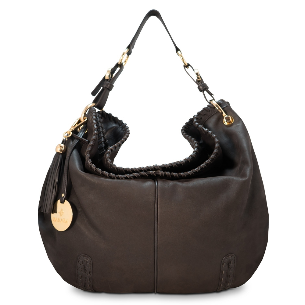 Shoulder bag from Duende collection in Calf Leather (Nubuck finish) and Brown color