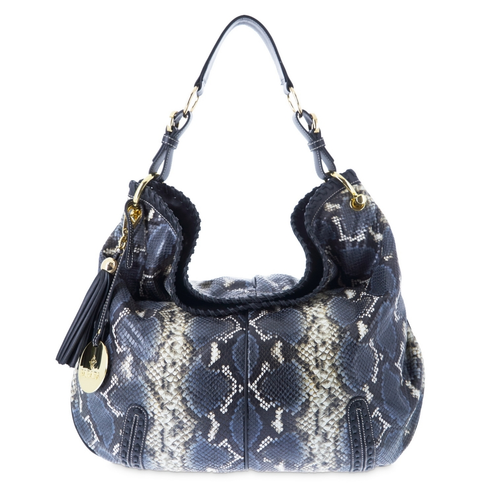 Shoulder bag from Duende collection in Calf Leather (Snake print)  and Blue color