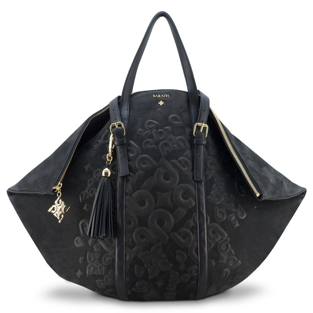 Shopping bag from our Rocío collection in Calf Leather (Nubuck finish) and Black color