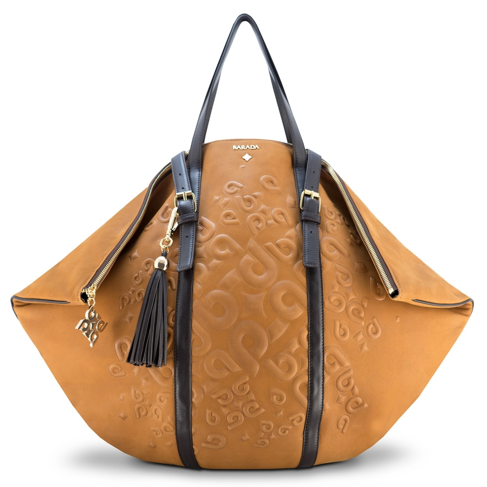 Shopping bag from our Rocío collection in Calf Leather (Nubuck finish) and Cuero color