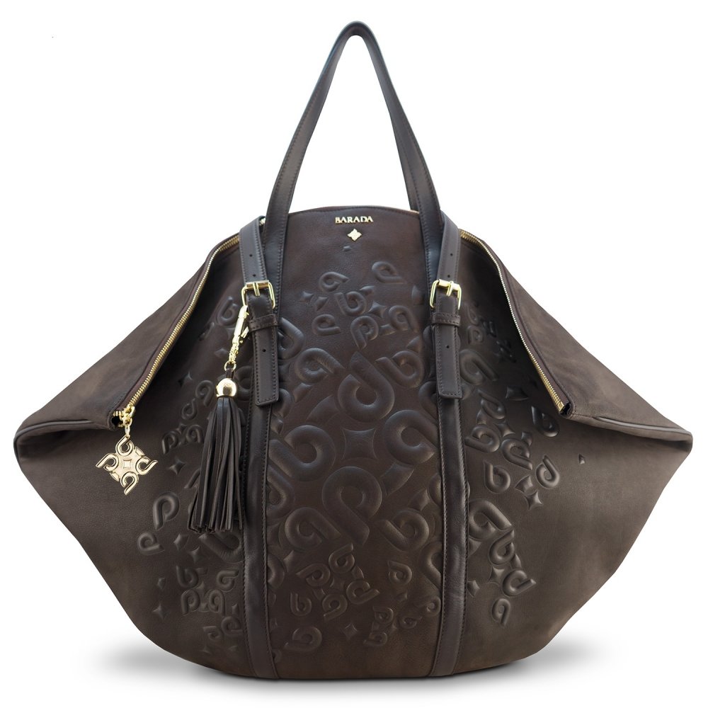 Shopping bag from our Rocío collection in Calf Leather (Nubuck finish) and Brown color