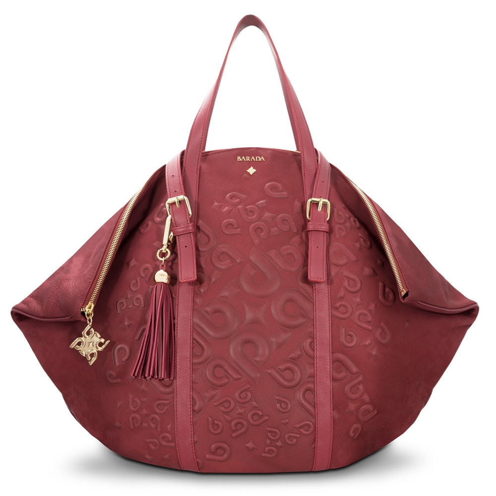 Shopping bag from our Rocío collection in Calf Leather (Nubuck finish) and Burgundy color
