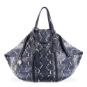 Shopping bag from our Rocío collection in Calf Leather (Snake print) and Blue color