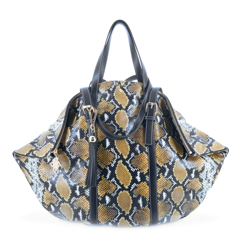 Shopping bag from our Rocío collection in Calf Leather (Snake print)  and Yellow color