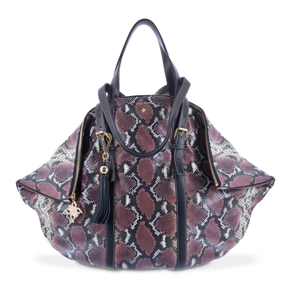 Shopping bag from our Rocío collection in Calf Leather (Snake print) and Firebrick color