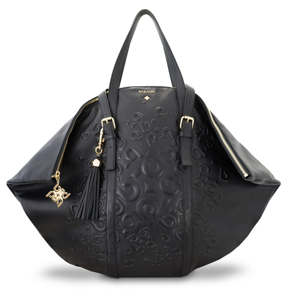 Shopping bag from our Rocío collection in Calf Leather (Antelope finish) and Black color