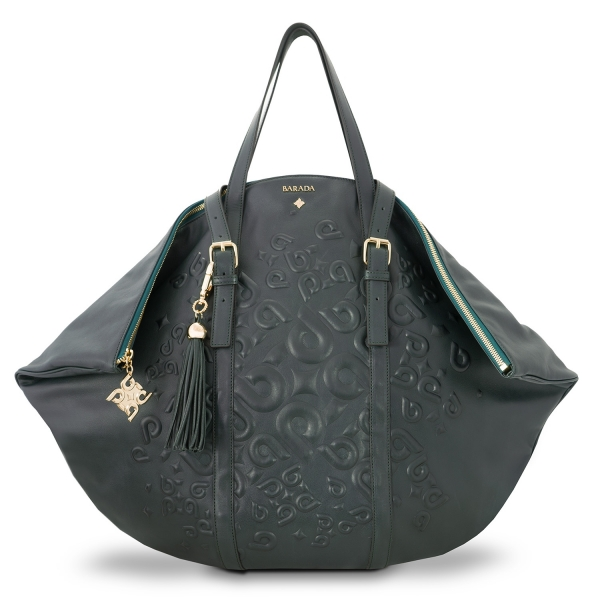 Shopping bag from our Rocío collection in Calf Leather (Antelope finish) and Green color