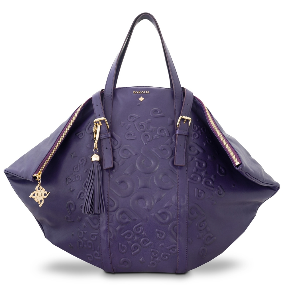 Shopping bag from our Rocío collection in Calf Leather (Antelope finish) and Purple color