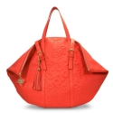 Shopping bag from our Rocío collection in Calf leather and Coral color