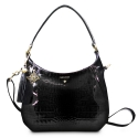 Shoulder Bag from our Brisa collection in Bright Calf leather and Black color