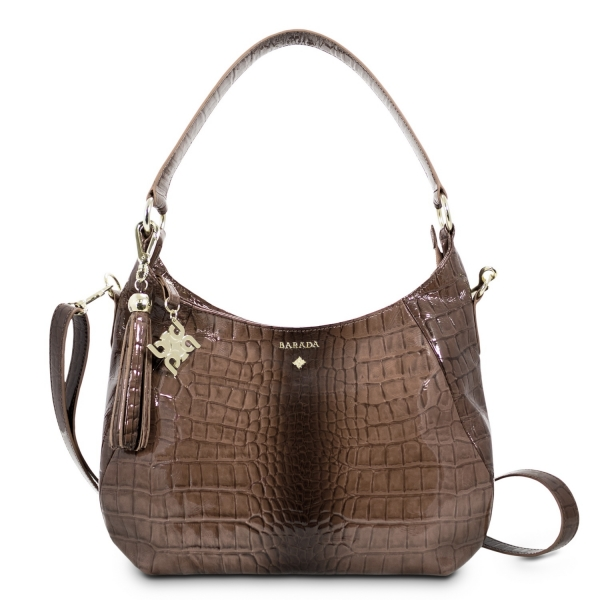 Shoulder Bag from our Brisa collection in Bright Calf leather and Taupe color