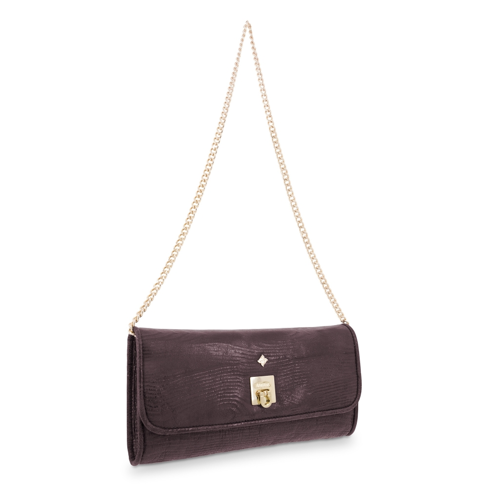 Clutch Bag Fiesta collection in Calf leather Aubergine colour