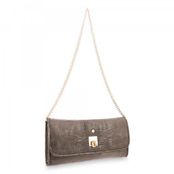 Clutch Bag Fiesta collection in Calf leather Lead colour