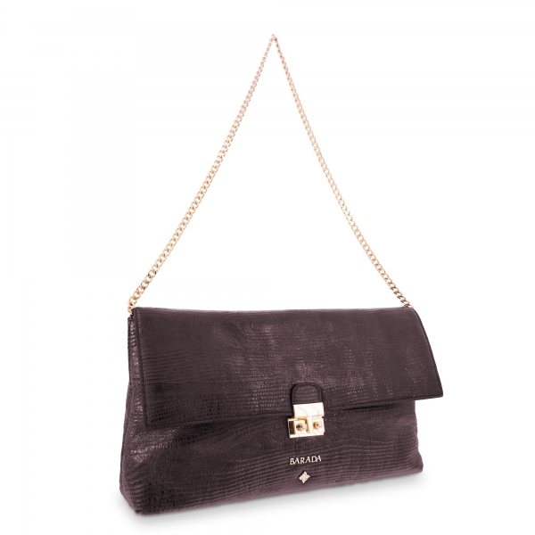 Clutch Bag Dama Blanca collection in Calf leather Aubergine colour