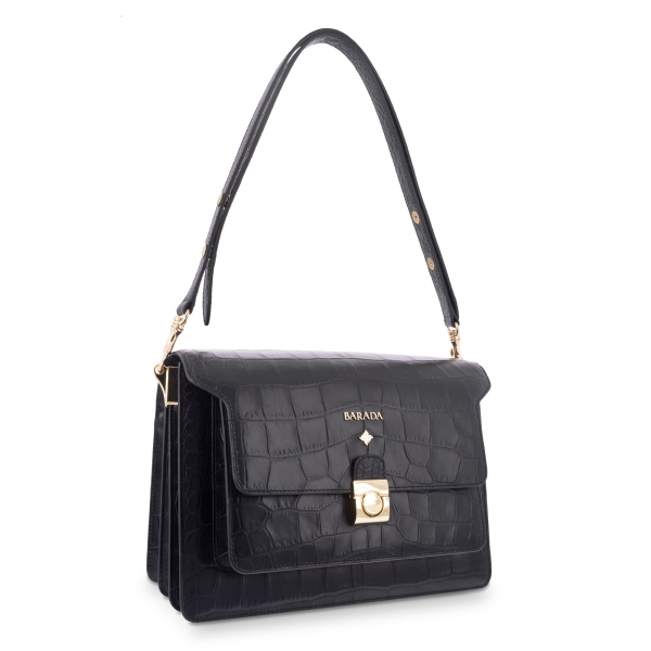 Shoulder Bag Morgana collection in Calf leather Black colour
