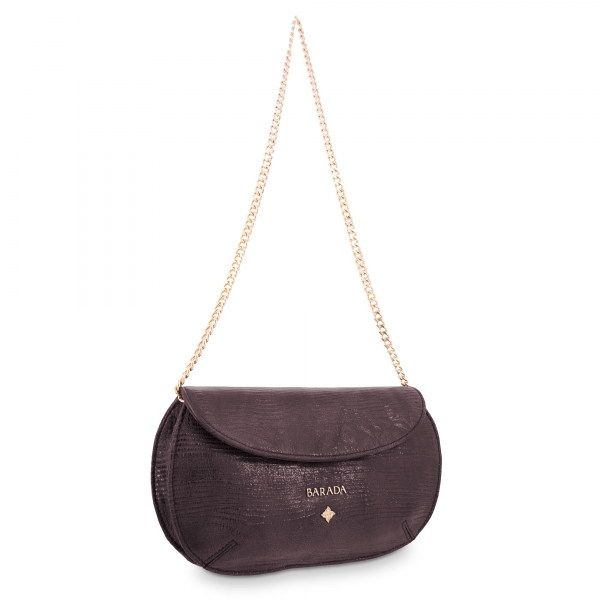 Clutch Bag Lady Rowena collection in Calf leather Aubergine colour