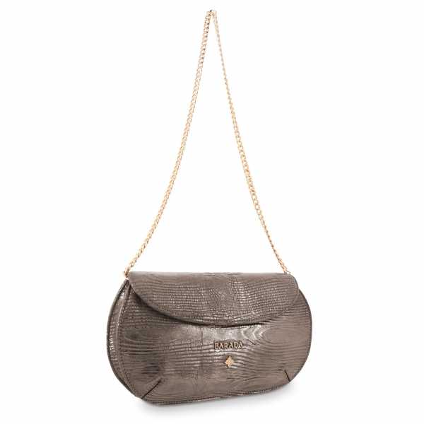 Clutch Bag Lady Rowena collection in Calf leather Lead colour
