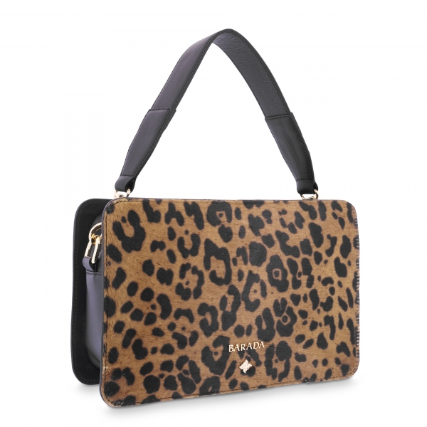 Hand bag Dasha collection in Lamb skin Leopard/Black colour