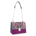 Shoulder Bag in Calf leather Purple and Grey colour