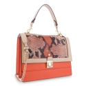 Handle Bag in Calf leather Orange and Beig colour