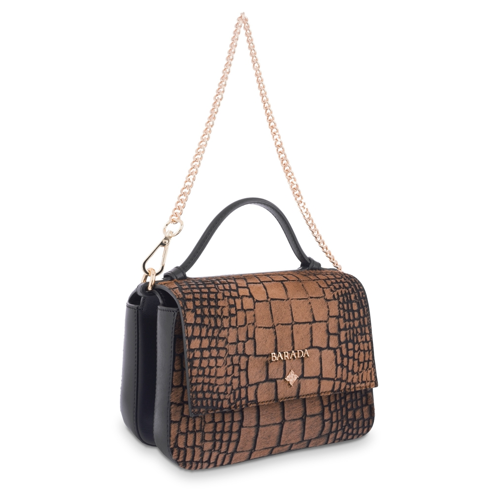 Handle Bag Crocodile print whith hair in Lamb skin Brown and Black colour