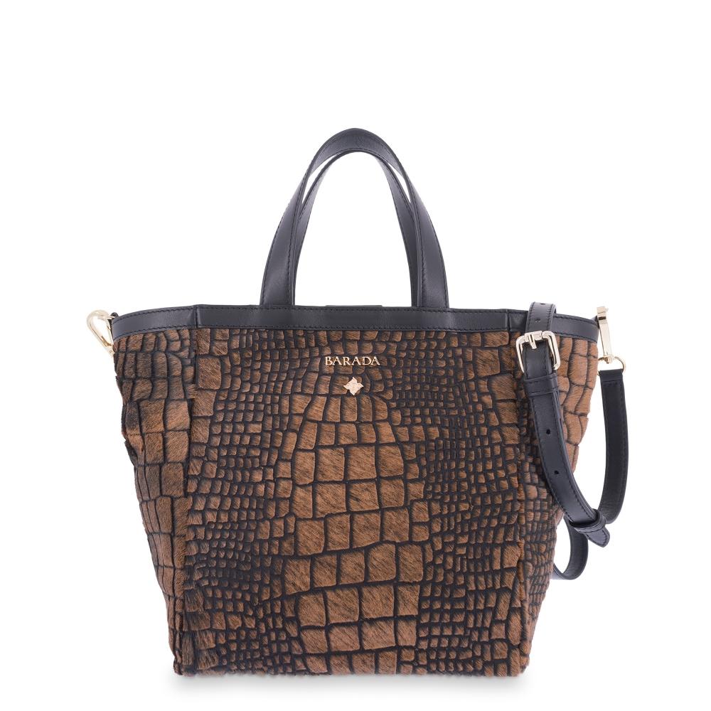 Tote Bag Crocodile print with hair in Lamb skin Brown and Black colour