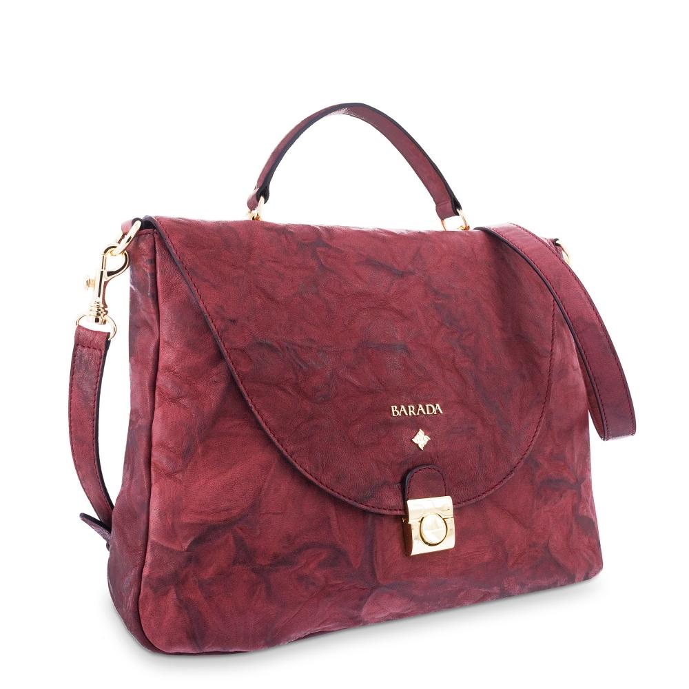 Handle Bag in Lamb skin Bourdeaux colour