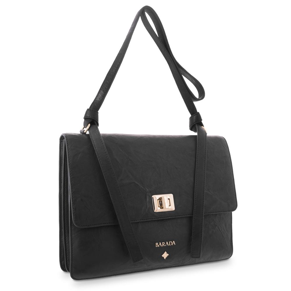 Cross Body Bag in Lamb skin Black colour