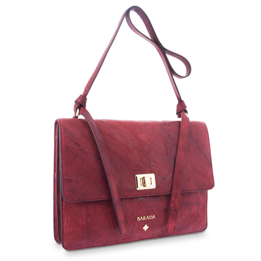Cross Body Bag in Lamb skin Bourdeaux colour