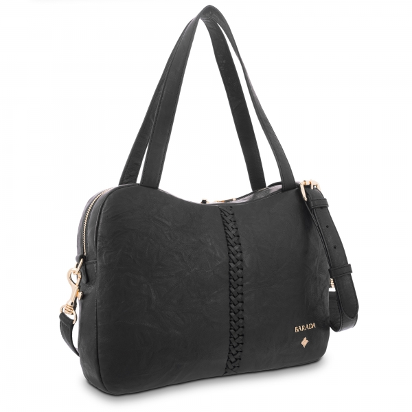 Tote Bag in Lamb skin Black colour