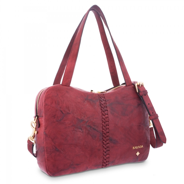 Tote Bag in Lamb skin Bourdeaux colour