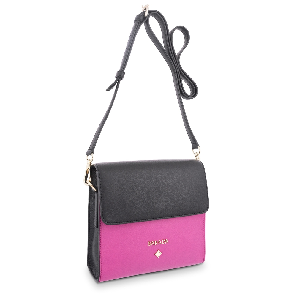 Cross Body Bag in Calf leather Black and Fuchsia colour