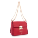 Shoulder Bag in Calf leather Red colour