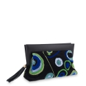 Clutch Bag in Calf leather Green Black colour