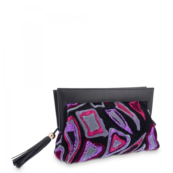 Clutch Bag in Calf leather Black and Purple colour