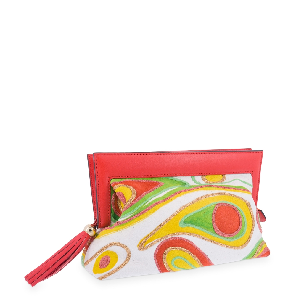 Clutch Bag in Calf leather White and Orange  colour