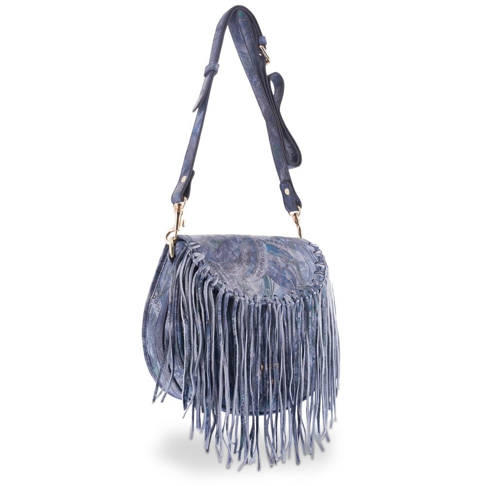 Shoulder Bag in Calf leather Blue colour