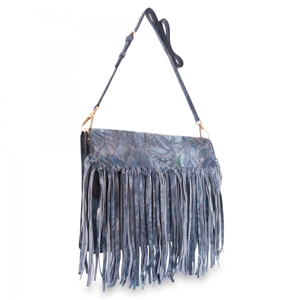 Cross Body Bag in Calf leather Blue colour