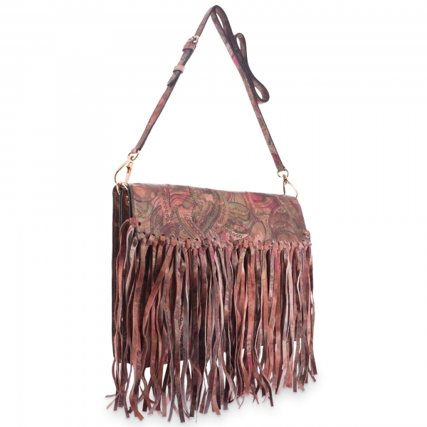 Cross Body Bag in Calf leather Red colour