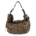 Shoulder Bag Dasha collection in Lamb skin Leopard/Black colour