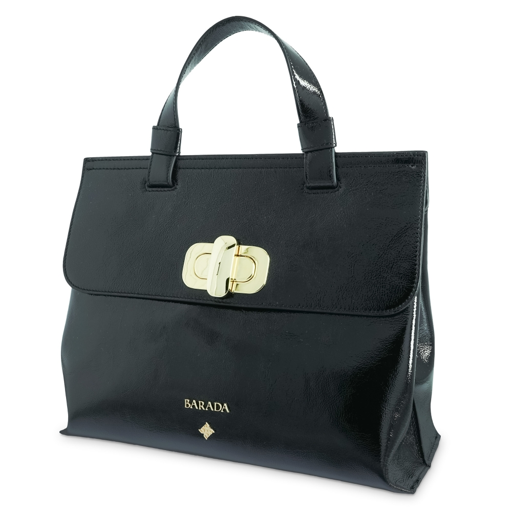 Handbag Collection Dasha in Wrinkled Patent leather (Calf) and Black colour