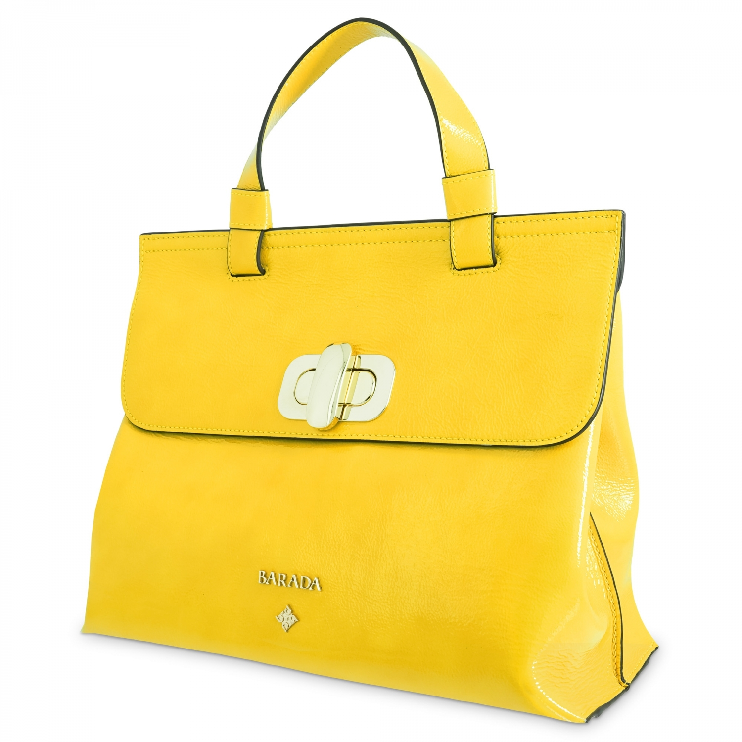 Handbag Collection Dasha in Wrinkled Patent leather (Calf) and Yellow  colour - Barada