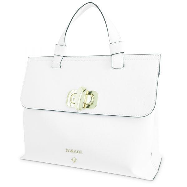 Handbag Collection Dasha in Wrinkled Patent leather (Calf) and White colour