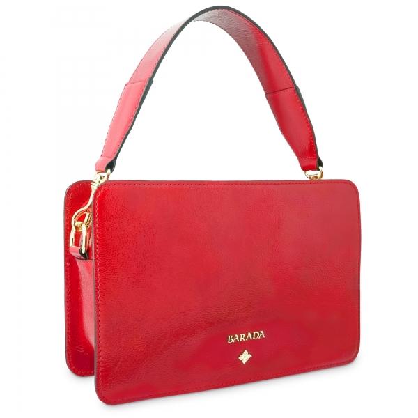 Bolso de Mano Colección Dasha en piel Charol arrugado (Vacuno) y color Rojo