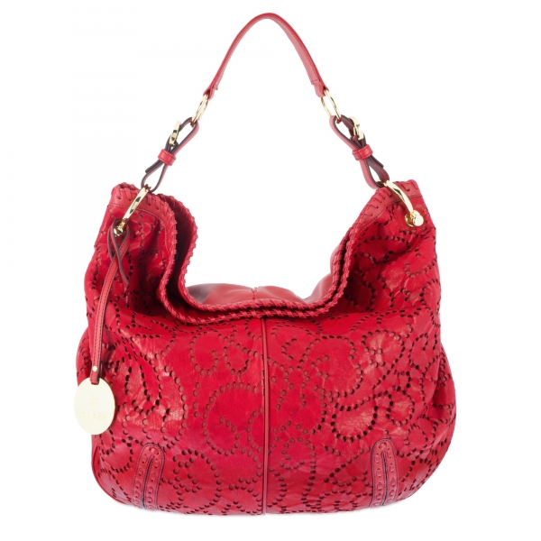 Shoulder bag Collection Duende in perforated leather (Lambskinskin) and Red colour
