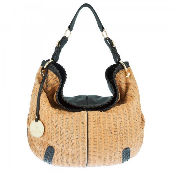 Shoulder bag Collection Duende in perforated leather (Lambskinskin) and Tan / Moka colour