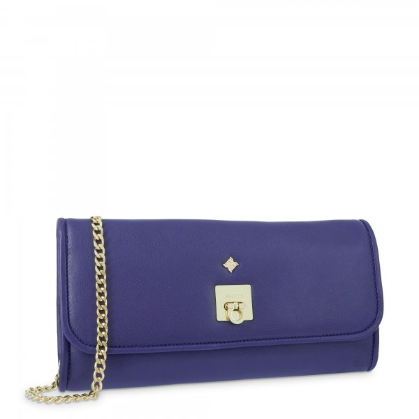 Evening Bag Collection Fiesta in Napa leather (Lambskinskin) and Blue colour